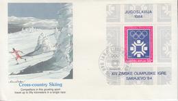 Enveloppe  FDC  1er  Jour   YOUGOSLAVIE    Bloc   Feuillet   Jeux   Olympiques   SARAJEVO   1984 - Invierno 1984: Sarajevo