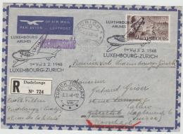 Lux143 / LUXEMBURG -  EF General Patton 10 F. Auf Postflugbeleg Nach Zürich 3.2.48 Und Weiter Nach Rorschach - Briefe U. Dokumente