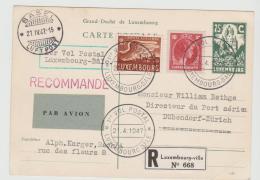 Lux162 / LUXEMBURG -  Erstflug Nach Basel 21.4.47 Auf Aifgewerteter Ganzsache, Als Einschreiben - Briefe U. Dokumente