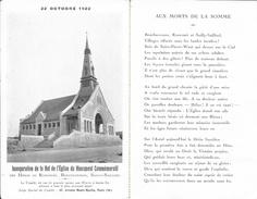 22 Octobre 1922: Inauguration De La Nef De L'Eglise Du Monument Des Héros De Rancourt, Bouchavesnes, Sailly - Inaugurations
