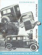 Dépliant Publicitaire 1931 Voiture Conduite Intérieure  F.N. 11 CV 1625 à HERSTAL - Publicidad