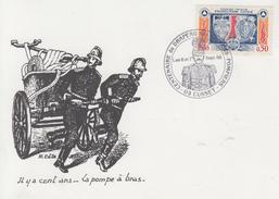 Carte Maximum    Centenaire  Du   Drapeau   Des   SAPEURS - POMPIERS     CUSSET   1986 - Sapeurs-Pompiers
