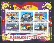 Guinea 2008 UEFA European Football Championship - Austria And Switzerland.Spain Team.Swiss AIR. Mozart. M/S. MNH - Guinea (1958-...)