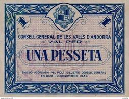 ANDORRA 1 Pessets  1936 1938  Blue Color  - REPRODUCTION - Andorra