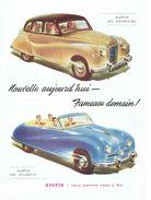 """Feuillet Publicitaire (recto-verso) 1951 AUSTIN A90 """"ATLANTIC CONVERTIBLE"""" - AUSTIN A70 """"HAMPSHIRE"""" - AUSTIN A40 """"DEVON"""" - Voitures"""