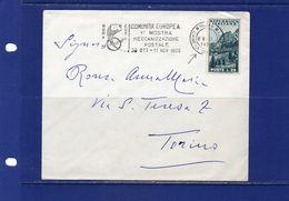 """##(YEL)-Italia 8-11-1956- Roma -  Targhetta """"Comunità Europea 1^ Mostra Meccanizzazione Postale""""su Busta - 6. 1946-.. Republik"""