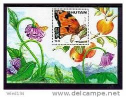 MINT NEVER HINGED SOUVENIR SHEET OF BUTTERFLIES  #  093-4  (  BHUTAN  1124A - Papillons