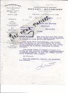 69 - Rhône - LYON - Facture ROCHET-SCHNEIDER - Automobiles - 1917 - REF 77B - 1900 – 1949