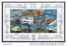 MINT NEVER HINGED MINI SHEET OF TRAINS OF THE WORLD     ( BHUTAN   1205** - Treni