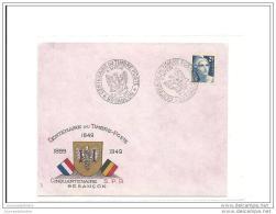 Enveloppe Centenaire Du Timbre Poste Besancon 1949 Avec Gandon - Storia Postale