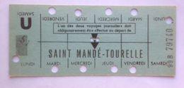 RATP METRO SAINT MANDE-TOURELLE - CARTE HEBDOMADAIRE ELEVE OU ETUDIANT - LIGNE 1 - Abonnements Hebdomadaires & Mensuels