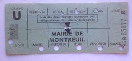 RATP METRO MAIRIE DE MONTREUIL - CARTE HEBDOMADAIRE ELEVE OU ETUDIANT - LIGNE 9 - Abonnements Hebdomadaires & Mensuels