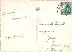 Belgium & Postal, Eglise Des Peres Franciscains, Bertrix, Gare De Gretz France 1948 (4666) - Belgium