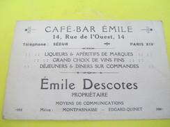 Carte Commerciale/Café Bar EMILE/ Rue De L'Ouest /Paris Xiv éme / Emile Descotes/ Vers 1930-1950      CAC24 - Francia