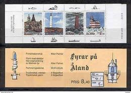 Aland Isl 183 Booklet 1992 MNH 4v CV 16 Eur LIGHTHOUSES - Ålandinseln