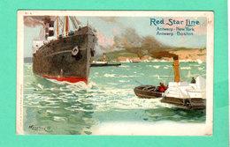 CPA PK +/- 1900 RED STAR LINE Antwerp New York / Antwerp Boston H-4 - Steamers