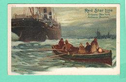 CPA PK +/- 1900 RED STAR LINE Antwerp New York / Antwerp Boston H-6 - Steamers