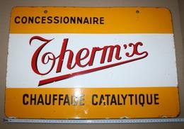 Plaque émaillée Pub THERM/ X Dans SON JUS - Targhe Smaltate (a Partire Dal 1961)