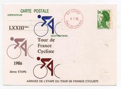 LXXIIIème Tour De France Cycliste 1986 3ème étape Liévin 6-7-1986 Oblitération 1er Jour Arrivée étape - Cycling