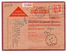 - FRANCE - CARTE POSTALE REMBOURSEMENT PARIS Pour ALGER 18.9.1952 - 12 F. Orange Marianne De Gandon - - Covers & Documents
