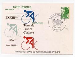 LXXIIIème Tour De France Cycliste 1986 4ème étape Evreux 7-7-1986 Oblitération 1er Jour Arrivée étape - Cycling