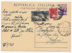 """Cartolina Postale """"Democratica"""" 8 Lire Viola Posta Aerea Circolata 1948 - 6. 1946-.. Repubblica"""