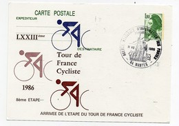 LXXIIIème Tour De France Cycliste 1986 8ème étape Nantes 11-7-1986 Oblitération 1er Jour Arrivée étape - Cycling
