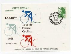 LXXIIIème Tour De France Cycliste 1986 11ème étape Bordeaux 14-7-1986 Oblitération 1er Jour Arrivée étape - Cycling