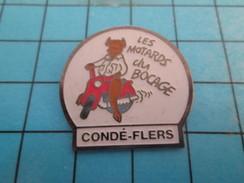 Pin713G Pin's Pins : BEAU ET RARE : MOTOS / MOTO CLUB LES MOTARDS DU BOCAGE CONDE FLERS NORMANDIE VACHE - Motos