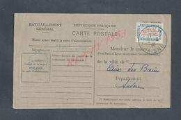 MILITARIA CARTE RAVITAILLEMENT SUR TIMBRE MILITAIRE MAIRIE DE CROUY À BONNEL PAUL FRANÇOIS MARIE X AIX LES BAINS  1946 - Guerre, Militaire