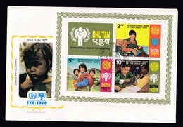 Bhutan: FDC First Day Cover, 1979, Souvenir Sheet, 3 Stamps, Year Of Child, Children, Baby, School (tape At Back) - Bhutan