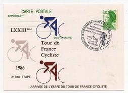 LXXIIIème Tour De France Cycliste 1986 21ème étape Clermont-Ferrand 25-7-1986 Oblitération 1er Jour Arrivée étape - Cycling