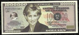 BILLET FANTAISIE COMMEMORATIF . 1000 000  DOLLARS . PRINCESSE DIANA . - United States Of America