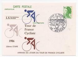 LXXIIIème Tour De France Cycliste 1986 22ème étape Nevers 26-7-1986 Oblitération 1er Jour Arrivée étape - Cycling