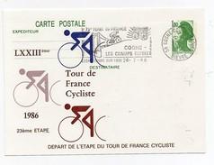 LXXIIIème Tour De France Cycliste 1986 23ème étape Cosnes-Les Champs Elysées 27-7-1986 Oblitération 1er Jour Arrivée - Cycling