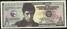 BILLET FANTAISIE COMMEMORATIF . 1000 000  DOLLARS . TONY MONTANA . - United States Of America