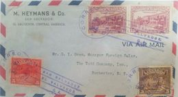 L) 1930 EL SAVADOR, INDIAN PLOW, ANIMALS, PEOPLE, 5 CENTS, ARCHITECTURE, CARS, PALMS, 15 CENTS, AIR SERVICE, AIR MAIL - El Salvador