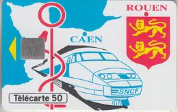 FRANCE - PHONE CARD - °PRIVÉE- 50U  ***  En??? -  TRAIN - TGV & CHEMINOTS DE NORMANDIE *** - France