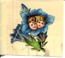 N°57156 -découpis Angelots Sur Carte Celluloïd - Anges