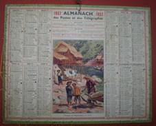 ALMANACH DES POSTES ET DES TÉLÉGRAPHES (oberthur) 1937 -  Pêcheurs Au Haut Tonkin (Vietnam). - Calendriers