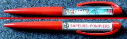 Stylo Panoramique (Système Eskesen) Stylo Mobile Floating Pen - SAPEURS POMPIERS éteignent L'incendie - Berliet - Stylos