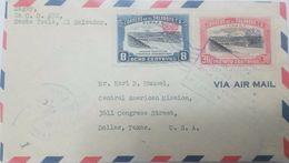 L) 1944 EL SALVADOR, PANAMERICAN'S HIGHWAY, CUSCATLAN BRIDGE, 1942, 8 CENTS, 30 CENTS, AIR MAIL, CIRCULATED COVER FROM - El Salvador