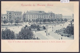Recuerdo De Buenos Aires (ca 1900) : Plaza 25 De Mayo - Banco Nuevo Italiano Y Banco De La Nación (14'747) - Argentine