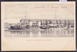 Recuerdo De Buenos Aires (ca 1900) : Dique N° 4 Con Buque De Guerra / Bateau De Guerre Argentin (14'752) - Argentine
