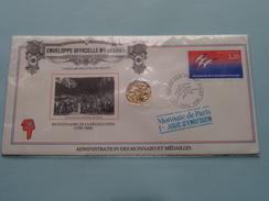BICENTENAIRE DE LA REVOLUTION 1789-1989 Enveloppe Officielle N° 050929 Union Des Philatélistes Des PTT ( Voir Photo ) ! - Monnaies