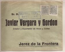 1937 Sobre Circulado De Becerrea (Lugo) A Jerez 2 X 15c Verde. Censurado Heller B35.1 Raro RRR - 1931-Hoy: 2ª República - ... Juan Carlos I