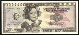 BILLET FANTAISIE COMMEMORATIF . 1000 000  DOLLARS . SHIRLEY TEMPLE BLACK . - United States Of America