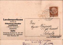! 1939 Drucksache Aus Ahrensbök, Sparkasse, Landesbank, Eutin, Bank, Schleswig-Holstein - Briefe U. Dokumente