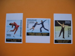 Timbre Non Dentelé  N° PA 150 à 153  Vainqueurs Aux Jeux Olympiques  D'Innsbruck 1976 - Centrafricaine (République)