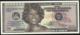 BILLET FANTAISIE COMMEMORATIF . 1000 000  DOLLARS . WHITNEY HOUSTON . - United States Of America